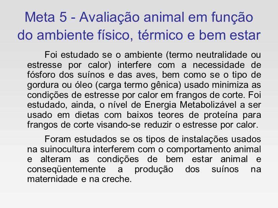 Meta 5 - Avaliação animal em função do ambiente físico, térmico e bem estar Foi estudado se o ambiente (termo neutralidade ou estresse por calor) inte