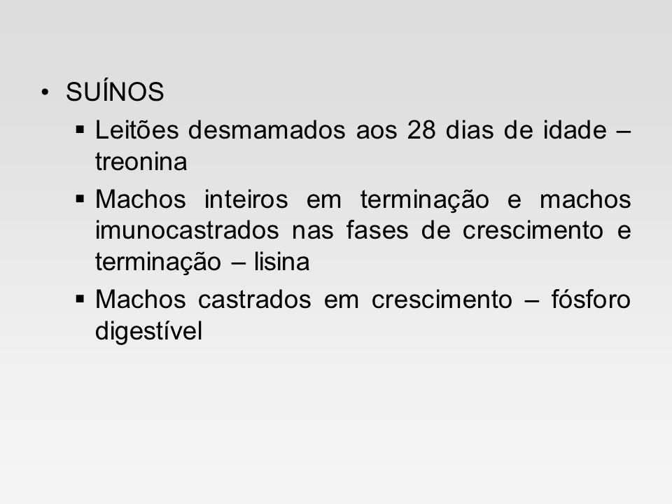 SUÍNOS Leitões desmamados aos 28 dias de idade – treonina Machos inteiros em terminação e machos imunocastrados nas fases de crescimento e terminação