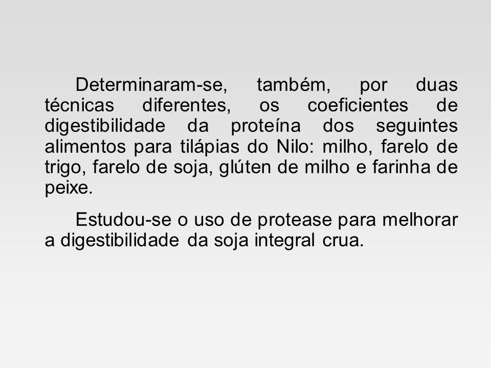 Determinaram-se, também, por duas técnicas diferentes, os coeficientes de digestibilidade da proteína dos seguintes alimentos para tilápias do Nilo: m
