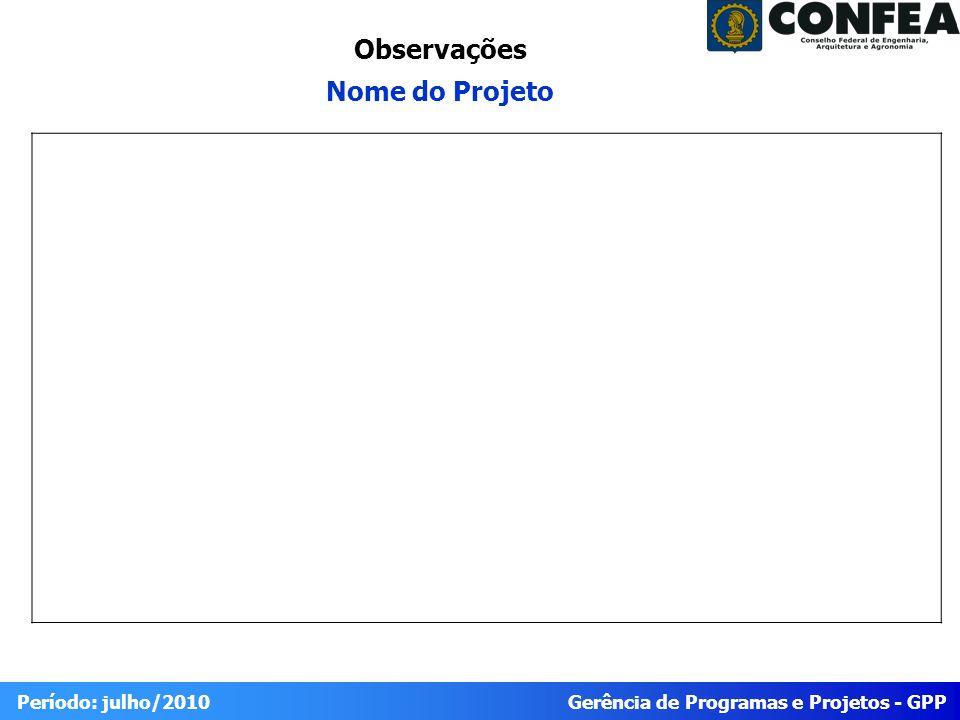 Gerência de Programas e Projetos - GPP Período: julho/2010 Observações Nome do Projeto