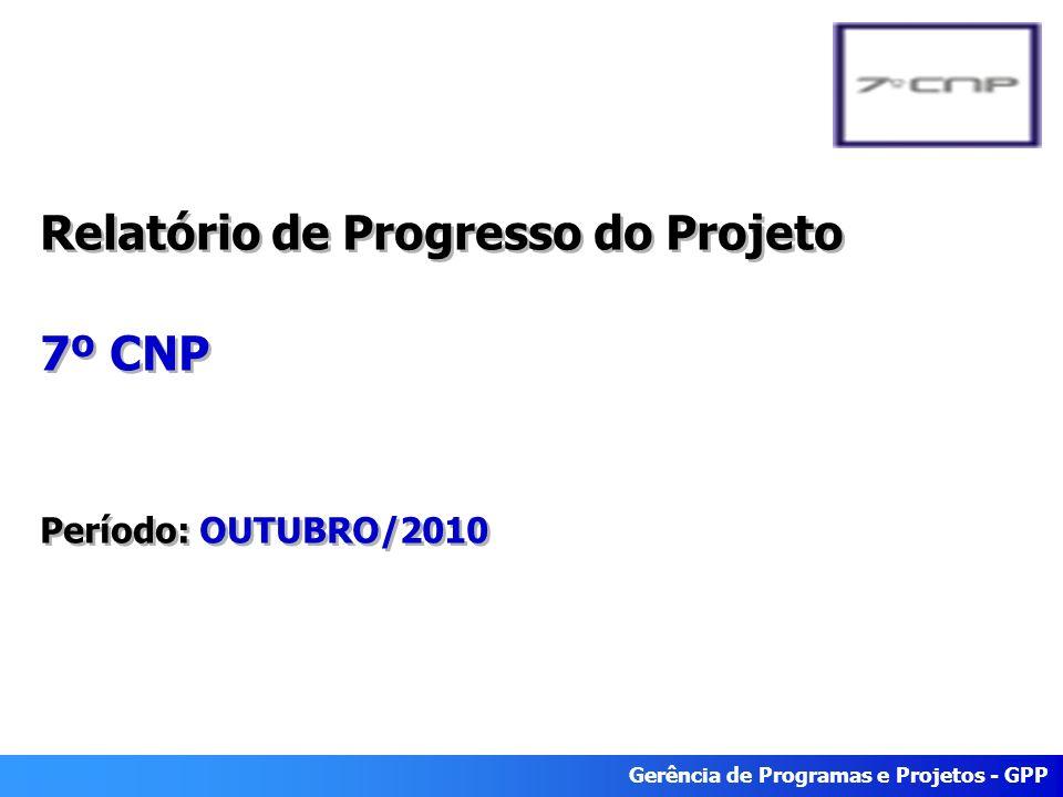 Gerência de Programas e Projetos - GPP Relatório de Progresso do Projeto 7º CNP Período: OUTUBRO/2010