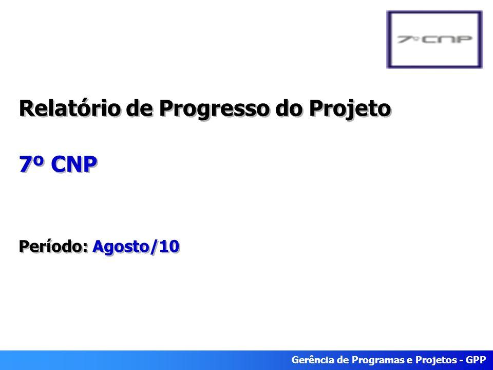 Gerência de Programas e Projetos - GPP Relatório de Progresso do Projeto 7º CNP Período: Agosto/10