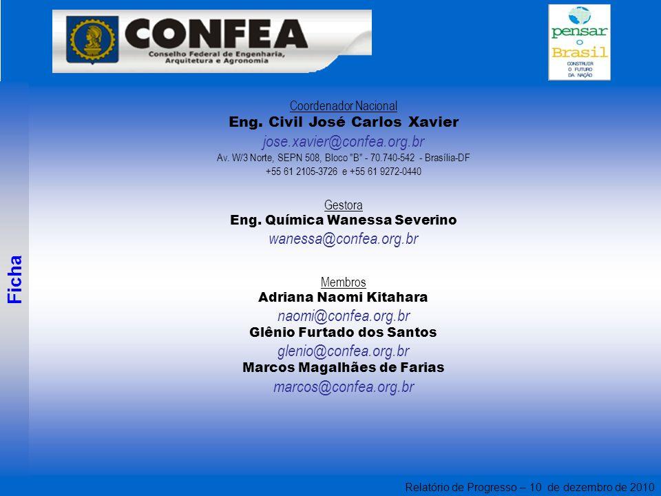 Relatório de Progresso – 10 de dezembro de 2010 Coordenador Nacional Eng. Civil José Carlos Xavier jose.xavier@confea.org.br Av. W/3 Norte, SEPN 508,