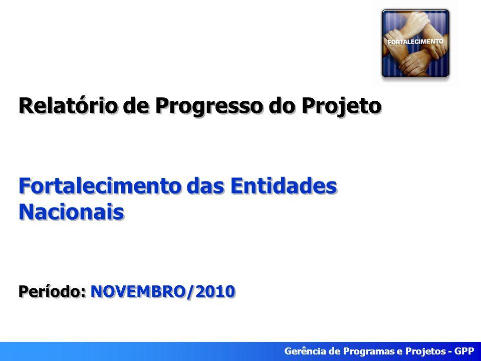 Gerência de Programas e Projetos - GPP Relatório de Progresso do Projeto Fortalecimento das Entidades Nacionais Período: NOVEMBRO/2010 Relatório de Progresso do Projeto Fortalecimento das Entidades Nacionais Período: NOVEMBRO/2010
