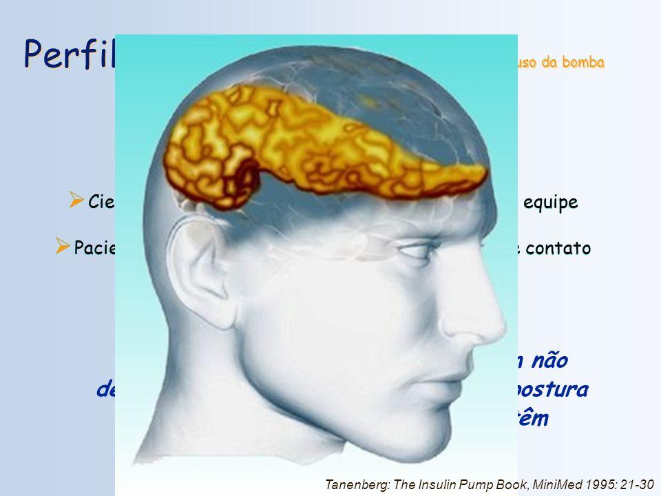 Perfil do Paciente / Pré-requisitos para o uso da bomba Motivado e com expectativas realísticas; Disciplinado na auto-monitorização; Motivado à contag