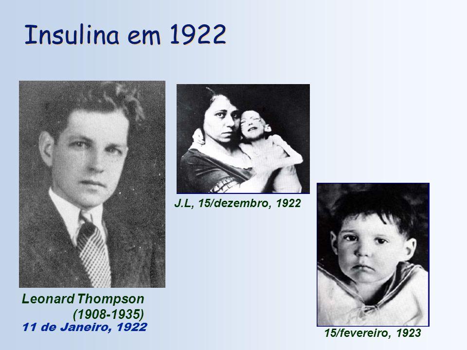 Leonard Thompson (1908-1935) Insulina em 1922 11 de Janeiro, 1922 J.L, 15/dezembro, 1922 15/fevereiro, 1923