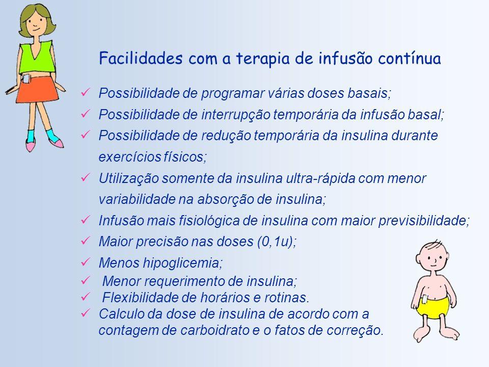 Possibilidade de programar várias doses basais; Possibilidade de interrupção temporária da infusão basal; Possibilidade de redução temporária da insulina durante exercícios físicos; Utilização somente da insulina ultra-rápida com menor variabilidade na absorção de insulina; Infusão mais fisiológica de insulina com maior previsibilidade; Maior precisão nas doses (0,1u); Menos hipoglicemia; Menor requerimento de insulina; Flexibilidade de horários e rotinas.