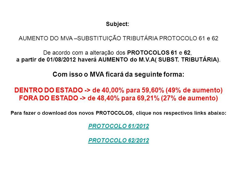 Subject: AUMENTO DO MVA –SUBSTITUIÇÃO TRIBUTÁRIA PROTOCOLO 61 e 62 De acordo com a alteração dos PROTOCOLOS 61 e 62, a partir de 01/08/2012 haverá AUMENTO do M.V.A( SUBST.