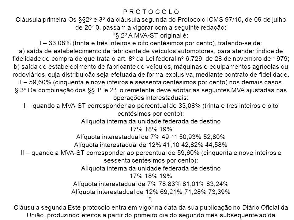 P R O T O C O L O Cláusula primeira Os §§2º e 3º da cláusula segunda do Protocolo ICMS 97/10, de 09 de julho de 2010, passam a vigorar com a seguinte redação: § 2º A MVA-ST original é: I – 33,08% (trinta e três inteiros e oito centésimos por cento), tratando-se de: a) saída de estabelecimento de fabricante de veículos automotores, para atender índice de fidelidade de compra de que trata o art.