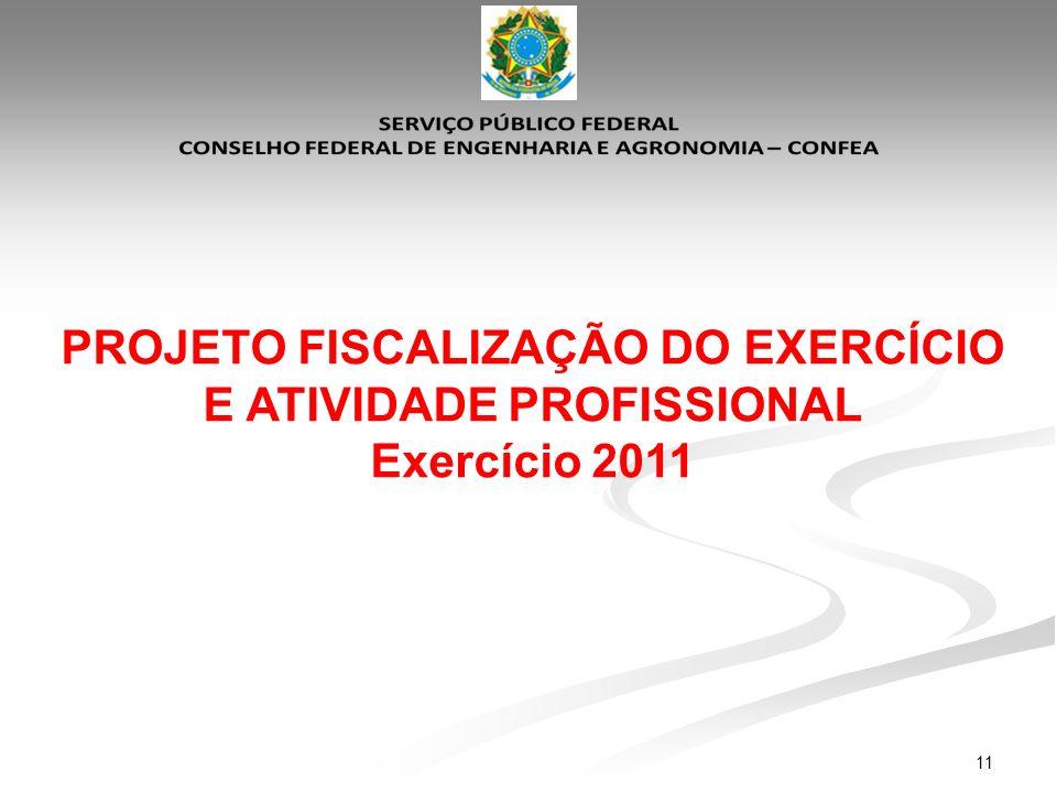 11 PROJETO FISCALIZAÇÃO DO EXERCÍCIO E ATIVIDADE PROFISSIONAL Exercício 2011