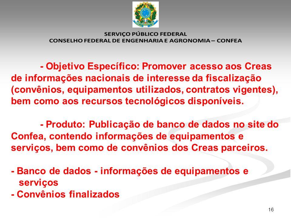 16 - Objetivo Específico: Promover acesso aos Creas de informações nacionais de interesse da fiscalização (convênios, equipamentos utilizados, contrat