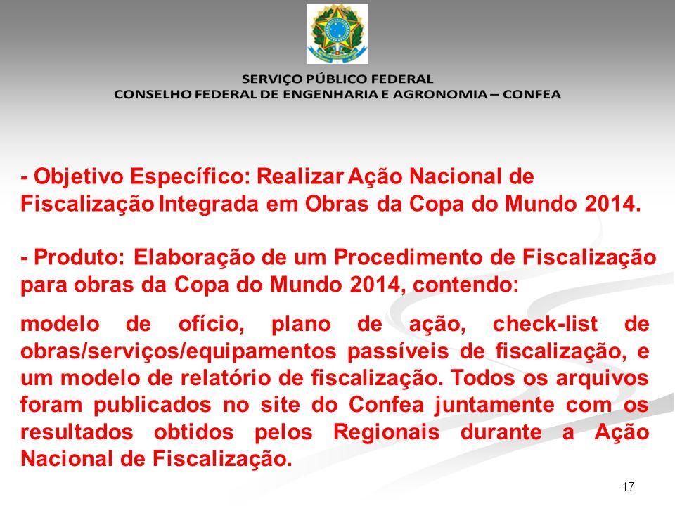 17 - Objetivo Específico: Realizar Ação Nacional de Fiscalização Integrada em Obras da Copa do Mundo 2014. - Produto: Elaboração de um Procedimento de