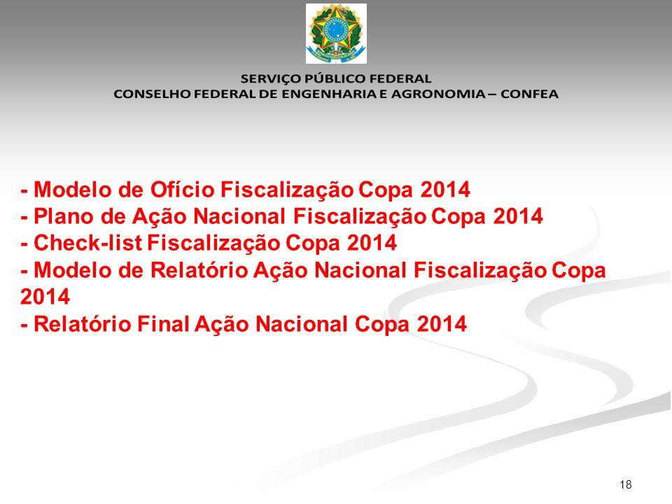 18 - Modelo de Ofício Fiscalização Copa 2014 - Plano de Ação Nacional Fiscalização Copa 2014 - Check-list Fiscalização Copa 2014 - Modelo de Relatório