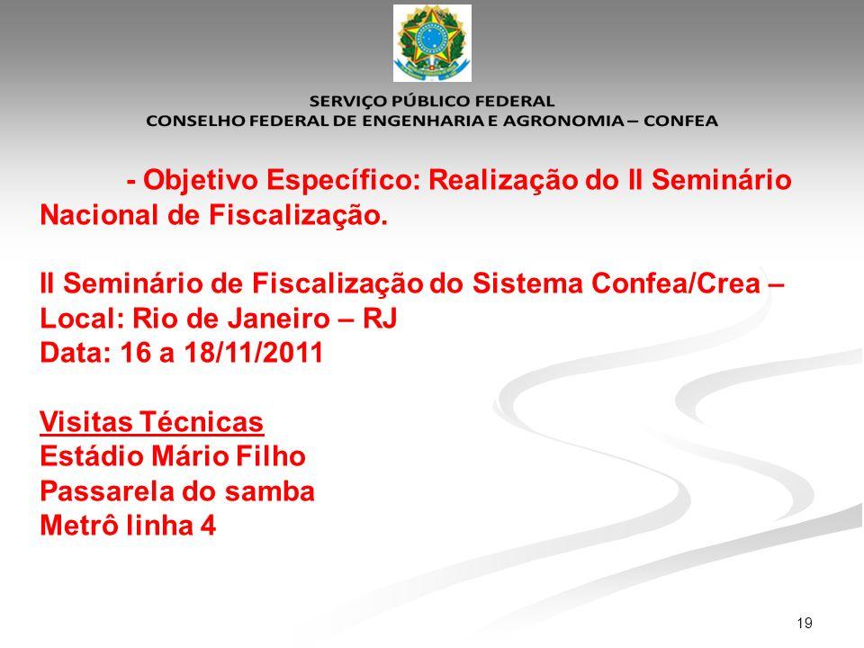 19 - Objetivo Específico: Realização do II Seminário Nacional de Fiscalização. II Seminário de Fiscalização do Sistema Confea/Crea – Local: Rio de Jan