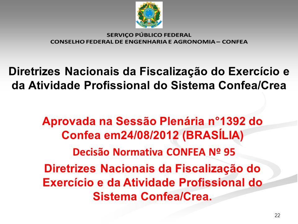 22 Diretrizes Nacionais da Fiscalização do Exercício e da Atividade Profissional do Sistema Confea/Crea Aprovada na Sessão Plenária n°1392 do Confea e