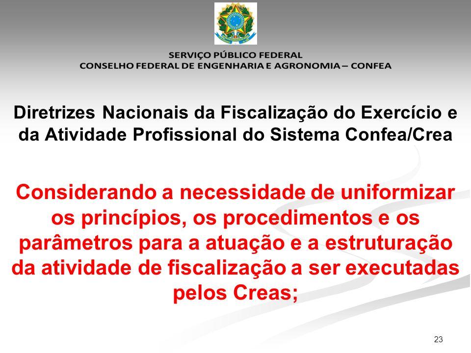 23 Diretrizes Nacionais da Fiscalização do Exercício e da Atividade Profissional do Sistema Confea/Crea Considerando a necessidade de uniformizar os p