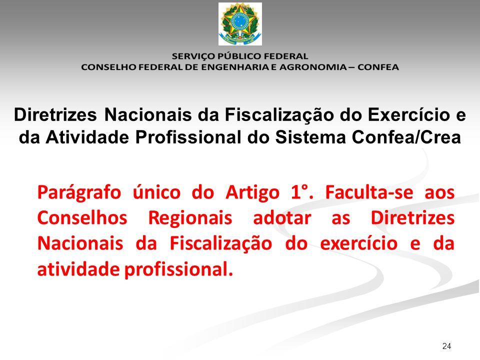 24 Diretrizes Nacionais da Fiscalização do Exercício e da Atividade Profissional do Sistema Confea/Crea Parágrafo único do Artigo 1°. Faculta-se aos C