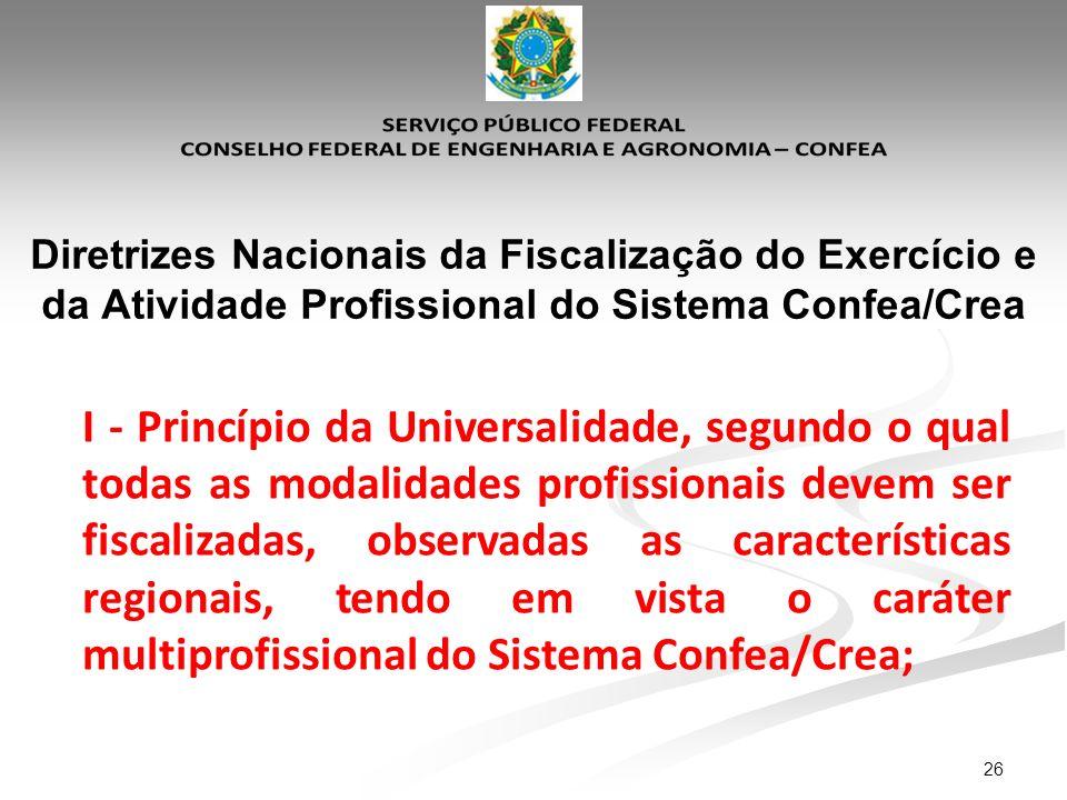 26 Diretrizes Nacionais da Fiscalização do Exercício e da Atividade Profissional do Sistema Confea/Crea I - Princípio da Universalidade, segundo o qua