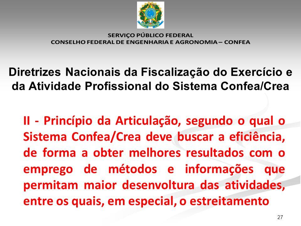 27 Diretrizes Nacionais da Fiscalização do Exercício e da Atividade Profissional do Sistema Confea/Crea II - Princípio da Articulação, segundo o qual