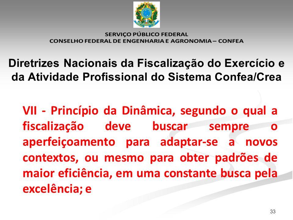 33 Diretrizes Nacionais da Fiscalização do Exercício e da Atividade Profissional do Sistema Confea/Crea VII - Princípio da Dinâmica, segundo o qual a