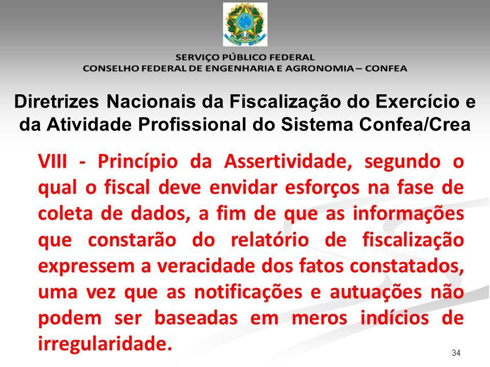 34 Diretrizes Nacionais da Fiscalização do Exercício e da Atividade Profissional do Sistema Confea/Crea VIII - Princípio da Assertividade, segundo o q