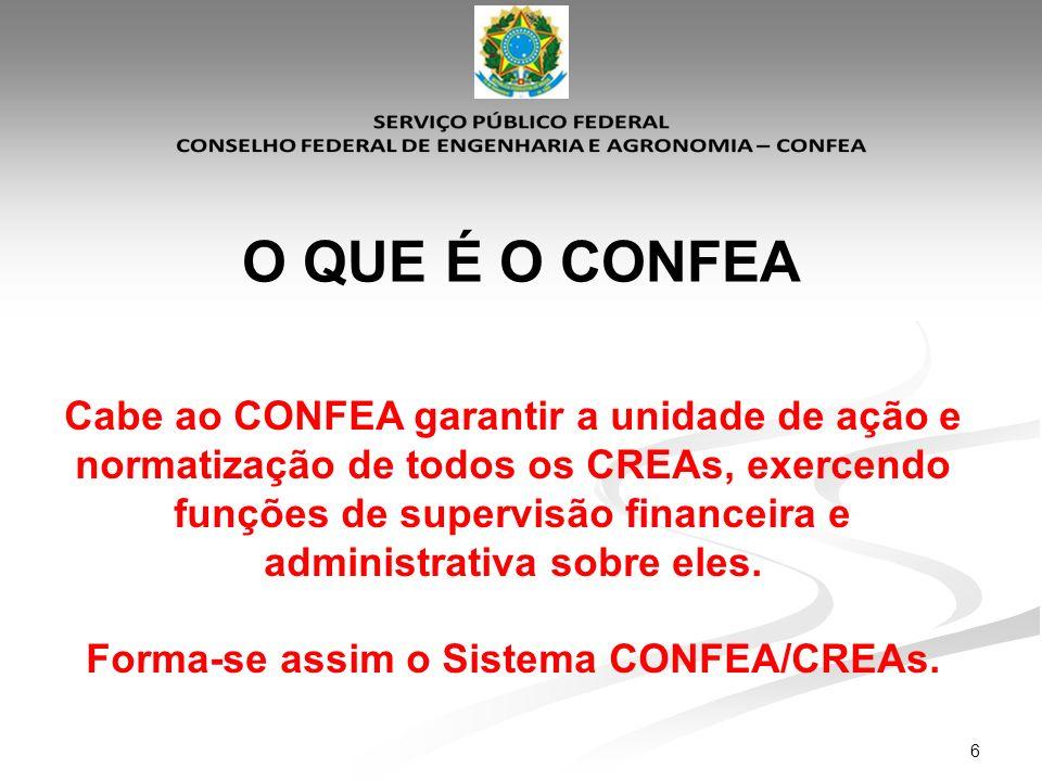 6 O QUE É O CONFEA Cabe ao CONFEA garantir a unidade de ação e normatização de todos os CREAs, exercendo funções de supervisão financeira e administra