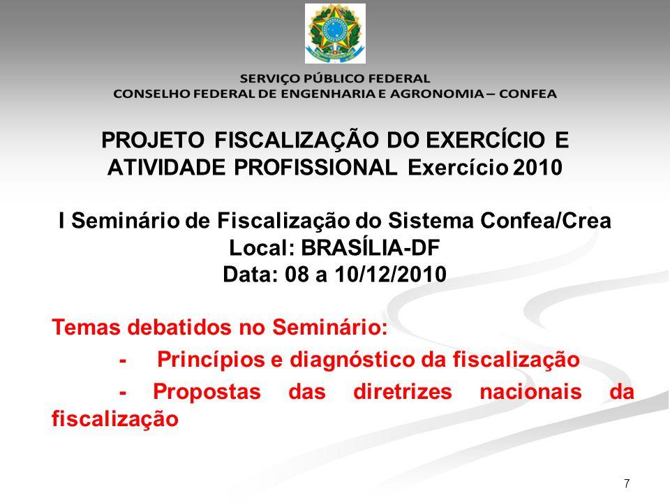 7 PROJETO FISCALIZAÇÃO DO EXERCÍCIO E ATIVIDADE PROFISSIONAL Exercício 2010 I Seminário de Fiscalização do Sistema Confea/Crea Local: BRASÍLIA-DF Data