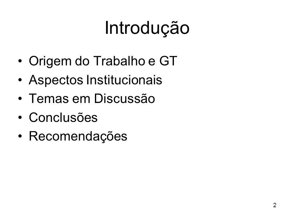 2 Introdução Origem do Trabalho e GT Aspectos Institucionais Temas em Discussão Conclusões Recomendações