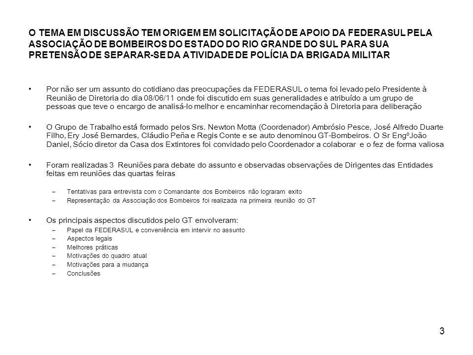 3 O TEMA EM DISCUSSÃO TEM ORIGEM EM SOLICITAÇÃO DE APOIO DA FEDERASUL PELA ASSOCIAÇÃO DE BOMBEIROS DO ESTADO DO RIO GRANDE DO SUL PARA SUA PRETENSÃO D