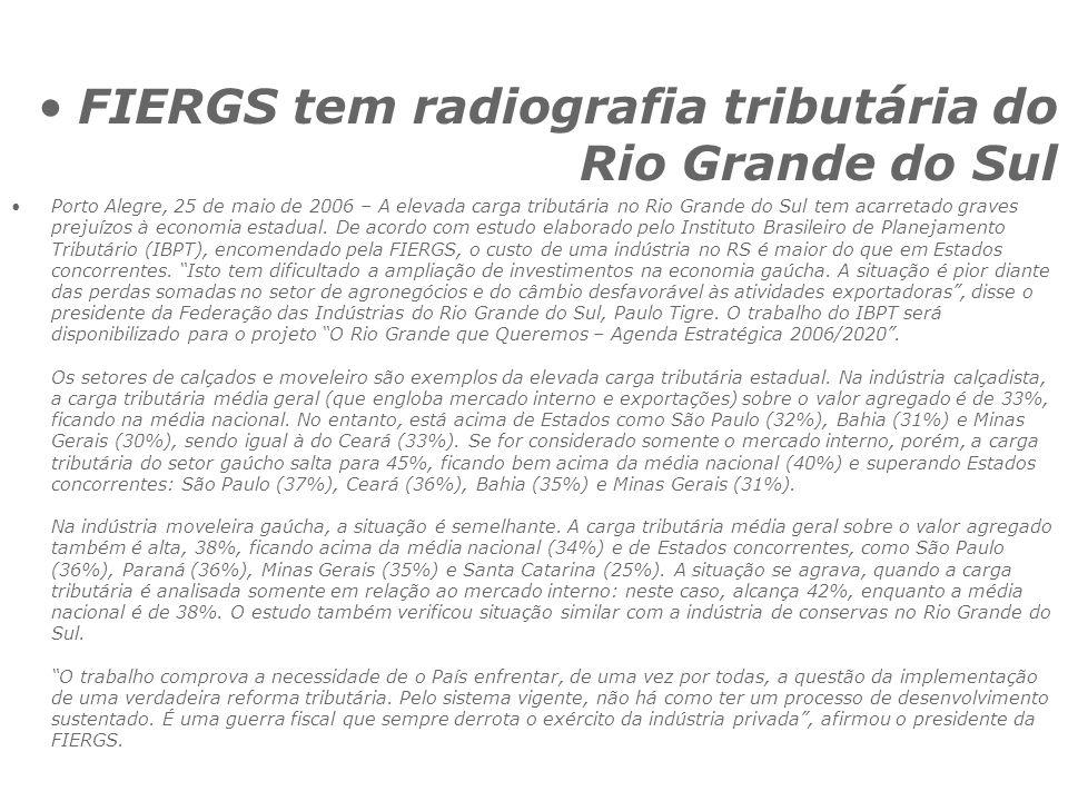 FIERGS tem radiografia tributária do Rio Grande do Sul Porto Alegre, 25 de maio de 2006 – A elevada carga tributária no Rio Grande do Sul tem acarretado graves prejuízos à economia estadual.