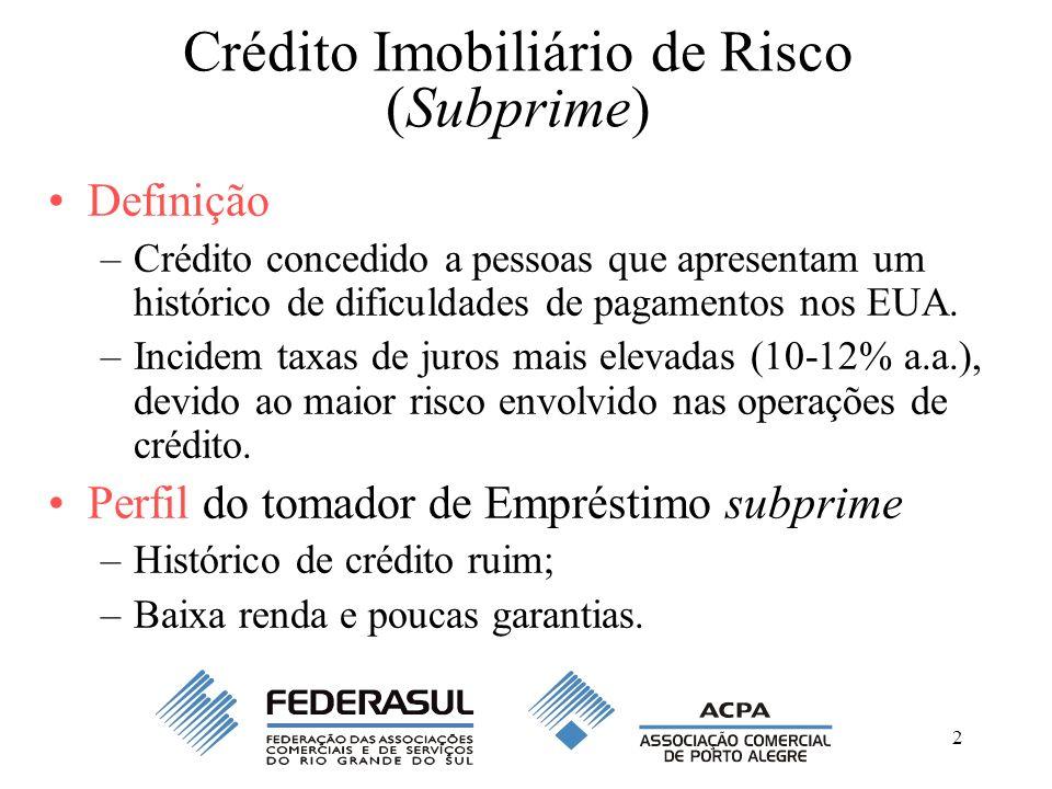 2 Crédito Imobiliário de Risco (Subprime) Definição –Crédito concedido a pessoas que apresentam um histórico de dificuldades de pagamentos nos EUA. –I