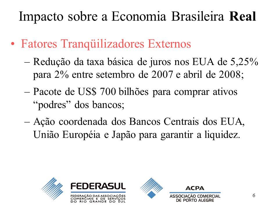 6 Impacto sobre a Economia Brasileira Real Fatores Tranqüilizadores Externos –Redução da taxa básica de juros nos EUA de 5,25% para 2% entre setembro
