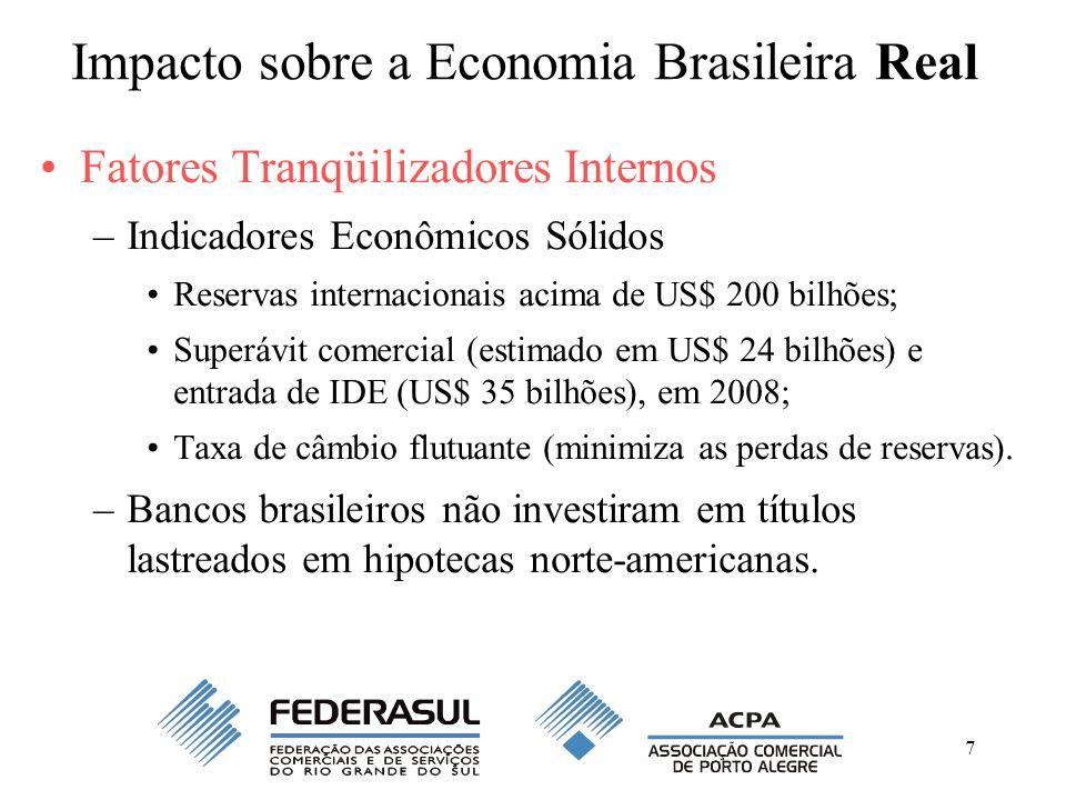 7 Impacto sobre a Economia Brasileira Real Fatores Tranqüilizadores Internos –Indicadores Econômicos Sólidos Reservas internacionais acima de US$ 200