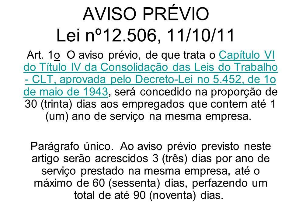 AVISO PRÉVIO Lei nº12.506, 11/10/11 Art. 1o O aviso prévio, de que trata o Capítulo VI do Título IV da Consolidação das Leis do Trabalho - CLT, aprova