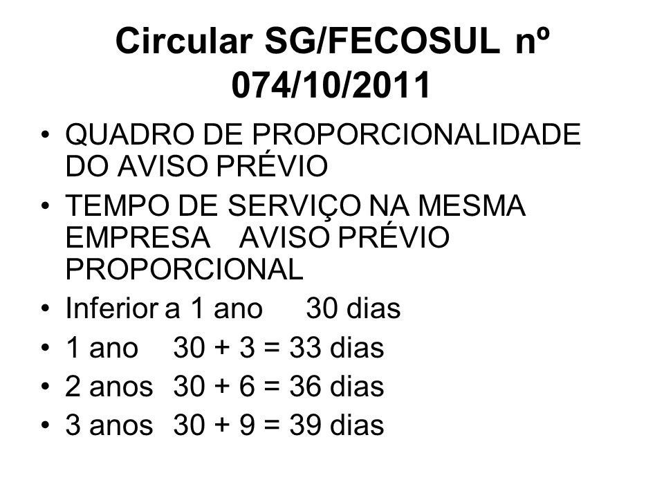 Circular SG/FECOSUL nº 074/10/2011 QUADRO DE PROPORCIONALIDADE DO AVISO PRÉVIO TEMPO DE SERVIÇO NA MESMA EMPRESAAVISO PRÉVIO PROPORCIONAL Inferior a 1