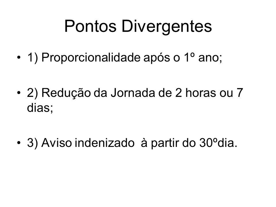Pontos Divergentes 1) Proporcionalidade após o 1º ano; 2) Redução da Jornada de 2 horas ou 7 dias; 3) Aviso indenizado à partir do 30ºdia.