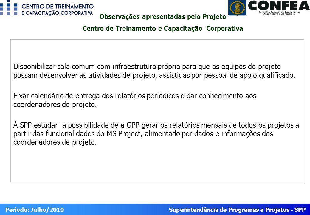 Superintendência de Programas e Projetos - SPP Período: Julho/2010 Disponibilizar sala comum com infraestrutura própria para que as equipes de projeto
