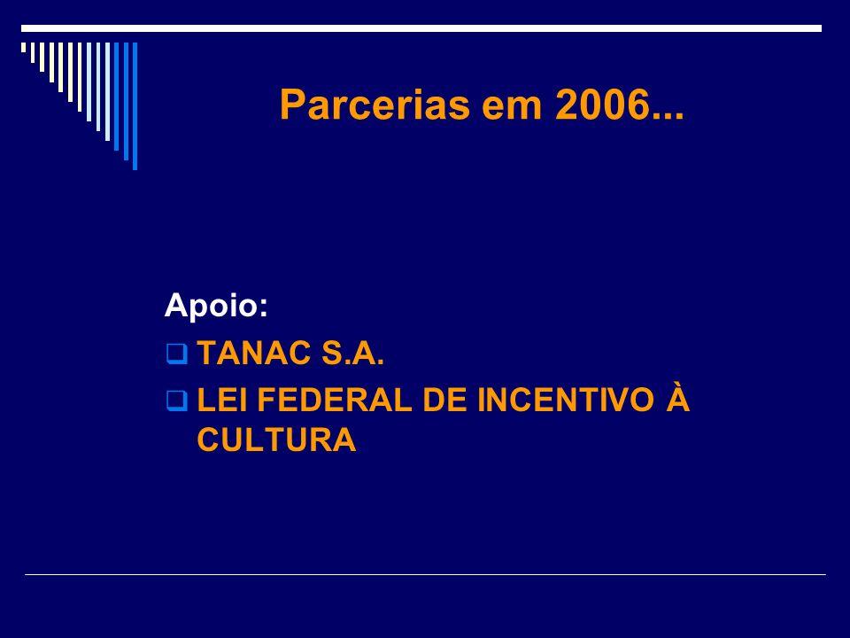 Parcerias em 2006... Apoio: TANAC S.A. LEI FEDERAL DE INCENTIVO À CULTURA
