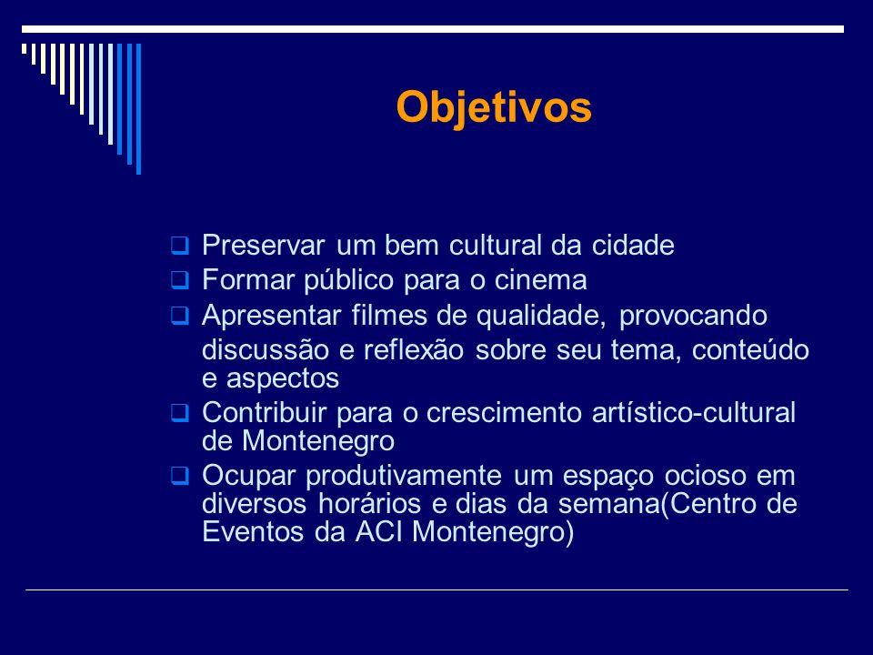 Objetivos Preservar um bem cultural da cidade Formar público para o cinema Apresentar filmes de qualidade, provocando discussão e reflexão sobre seu t