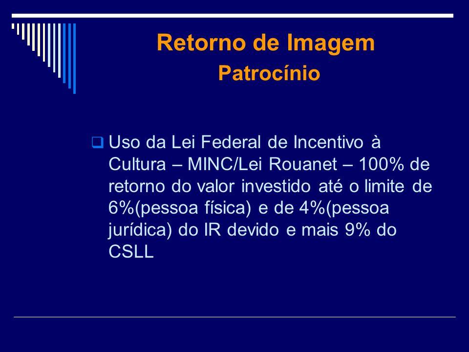 Retorno de Imagem Patrocínio Uso da Lei Federal de Incentivo à Cultura – MINC/Lei Rouanet – 100% de retorno do valor investido até o limite de 6%(pess