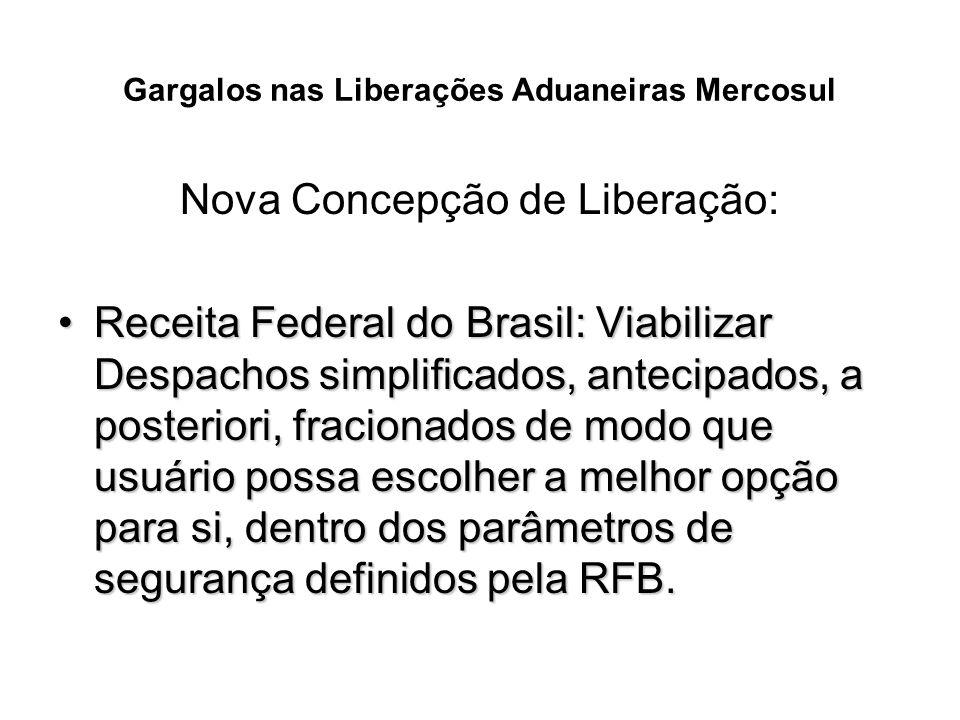 Gargalos nas Liberações Aduaneiras Mercosul Nova Concepção de Liberação: Receita Federal do Brasil: Viabilizar Despachos simplificados, antecipados, a
