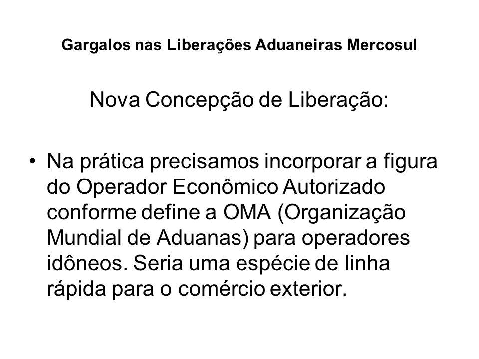Gargalos nas Liberações Aduaneiras Mercosul Nova Concepção de Liberação: Na prática precisamos incorporar a figura do Operador Econômico Autorizado co