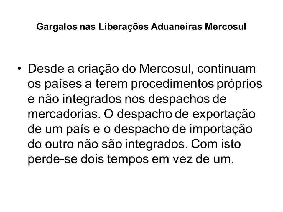 Gargalos nas Liberações Aduaneiras Mercosul Situação Atual: Os processos de liberação aduaneira no Mercosul são idênticos aos do Comércio Exterior com qualquer outro país do mundo (com acréscimo do Certificado de Origem) Sugestão: Criar Despacho Simplificado Mercosul até que haja extinção do mesmo