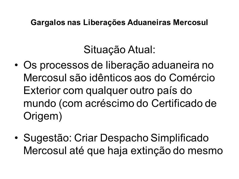 Gargalos nas Liberações Aduaneiras Mercosul Situação Atual: Os processos de liberação aduaneira no Mercosul são idênticos aos do Comércio Exterior com