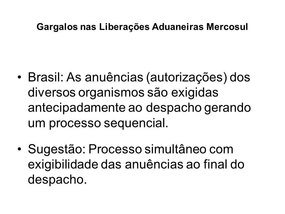 Gargalos nas Liberações Aduaneiras Mercosul Brasil: As anuências (autorizações) dos diversos organismos são exigidas antecipadamente ao despacho geran