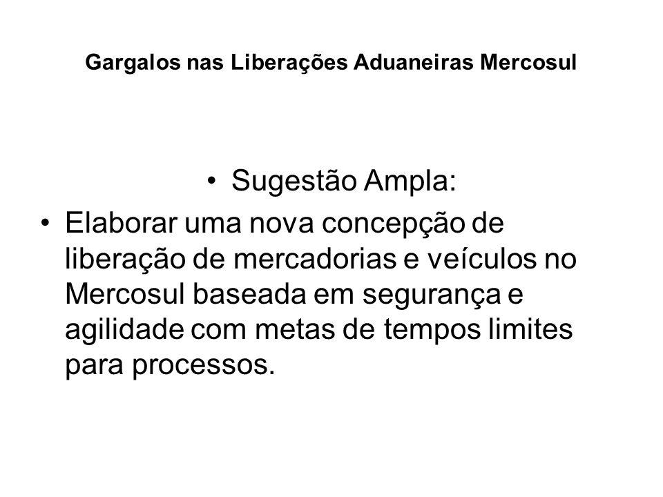 Gargalos nas Liberações Aduaneiras Mercosul Sugestão Ampla: Elaborar uma nova concepção de liberação de mercadorias e veículos no Mercosul baseada em