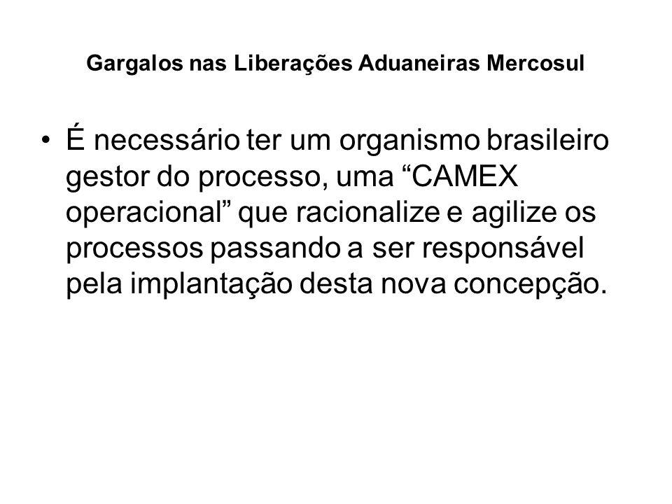 Gargalos nas Liberações Aduaneiras Mercosul É necessário ter um organismo brasileiro gestor do processo, uma CAMEX operacional que racionalize e agili