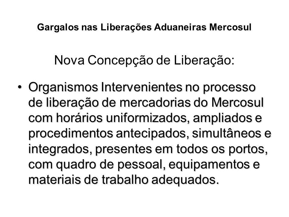 Gargalos nas Liberações Aduaneiras Mercosul Nova Concepção de Liberação: Organismos Intervenientes no processo de liberação de mercadorias do Mercosul