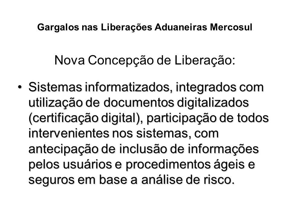 Gargalos nas Liberações Aduaneiras Mercosul Nova Concepção de Liberação: Sistemas informatizados, integrados com utilização de documentos digitalizado