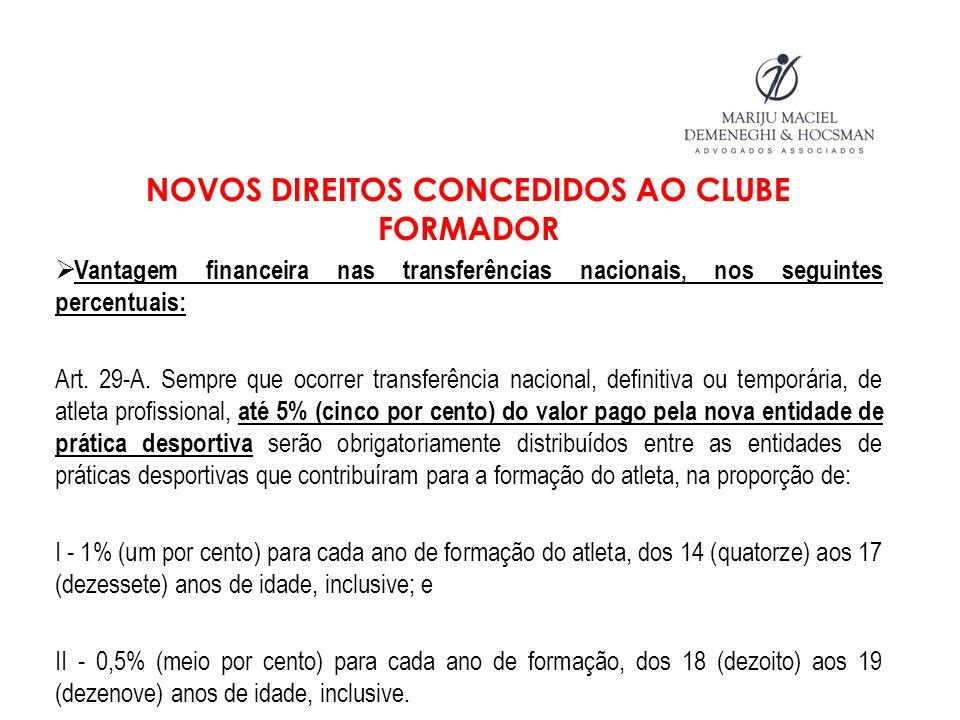 NOVOS DIREITOS CONCEDIDOS AO CLUBE FORMADOR Vantagem financeira nas transferências nacionais, nos seguintes percentuais: Art. 29-A. Sempre que ocorrer